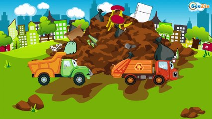 The Orange Racing Car & The Monster Truck - The Big Race in the City of Cars Cartoons for Children