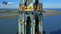 Le Mont Saint Michel en vue aérienne par drone