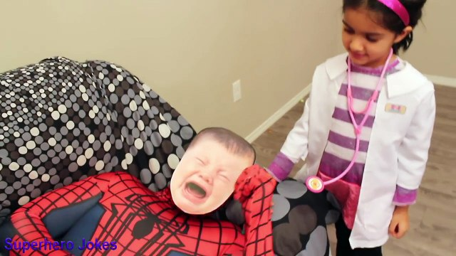 DOC MCSTUFFINS FARTING SPIDERBABY TUMMY ACHE CHECKUP, DOC MCSTUFFINS GIVES CRYING BABY INJECTION