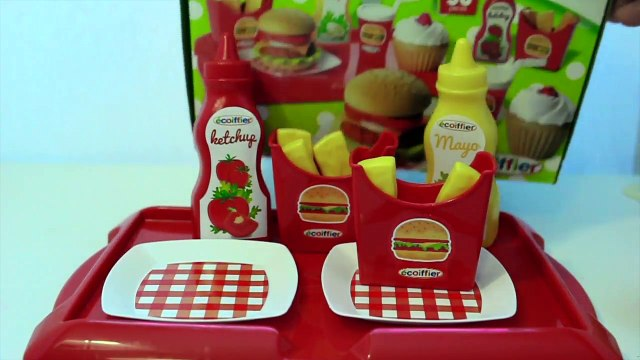 Toy kitchen burger play set PlayDoh Mc-French Fries playing burger & cupcakes toy