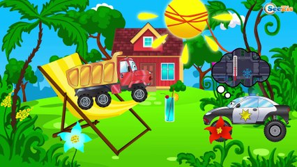 El Camión es Rojo Los Trabajos - La zona de construcción - Carritos Para Niños