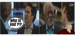 Morgan Freeman asks Joel Osteen WHO IS GOD? on SATANIC Show The Story of God