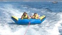Mathieu Bastareaud et Hugo Bonneval se défient à la bouée nautique