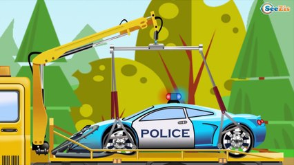 Construction Trucks: The Red Bulldozer and The Excavator - Cars & Trucks Cartoon for kids