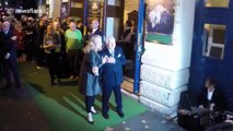 Mel Brooks, Debbie McGee and Joan Collins at Young Frankenstein press night