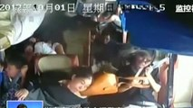 Terrifying moment bus topples over on China highway