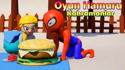 Elsa ve Örümcek Adam Piknik'te - Oyun Hamuru Çizgi Film Süper Kahramanlar