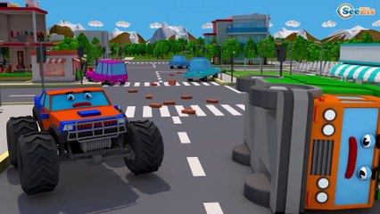 Giant Truck With The Excavator - Construction Vehicles 3D Kids Cartoon Cars & Trucks Stories