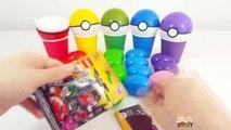 무지개색 컵과 에그로 재미있는 색깔놀이와 포켓몬 볼 알까기 놀이 어린이 장난감 동영상