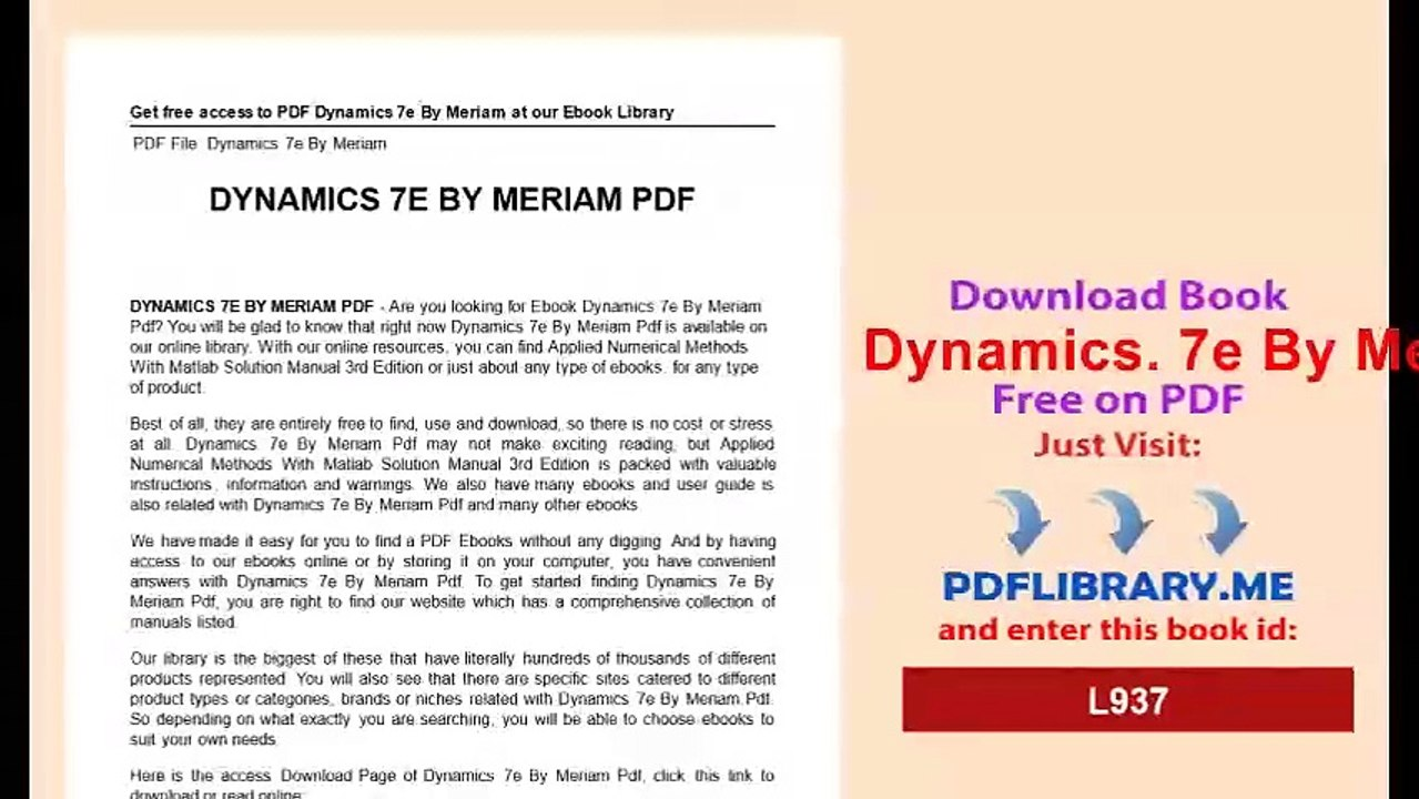 Dynamics  7e By Meriam