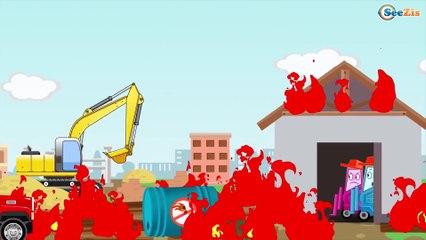 Construction Trucks: The Red Truck & Dump Truck & Crane - Cars & Trucks Cartoon for kids