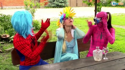 Spiderman & Frozen Elsa & Pink Spidergirl Gets Rainbow Hair! Funny Superheroes