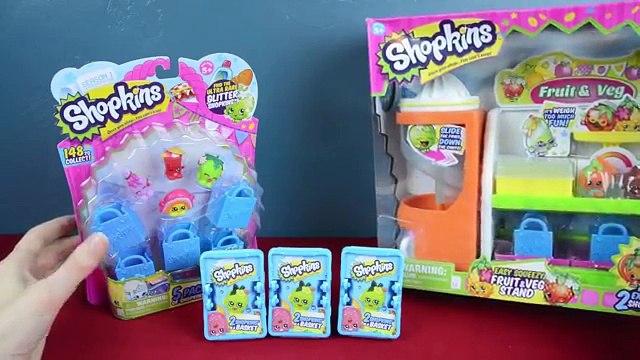 SHOPKINS!!! Shopkins Blind Baskets, 5 Pack, and Fruit & Veg Stand! Kinder Playtime