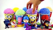 Play Doh Slime Goo Minecraft Peppa Pig Spiderman Frozen Cartoon Surprise Eggs To