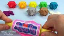 Learn Colors Play Doh Snowflakes Peppa Pig Elephant Mickey Mouse Hello Kitty Fun & Creative for Kids