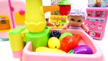 Cutting Fruits and Vegetables Toys Playset Wash, Cut and Stock Your Fridge