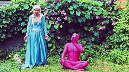 Spiderman & Frozen Elsa babysit snow white baby! Ariel mermaid, Catwoman, Joker funny video