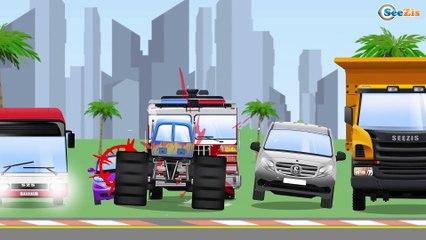Voiture de Police VROUM VROUM - Voiture sur la Route - Dessin animé avec les Voitures et Les Camions