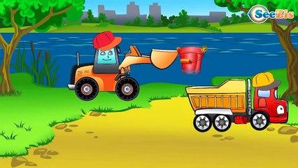 Мультфильмы для детей Экскаватор, Грузовик и Кран - Стройка Склада Мультики про машинки