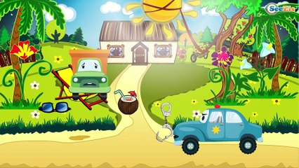 Car Cartoons: Fire truck and Police car and the Truck in the City   Cartoon for kids