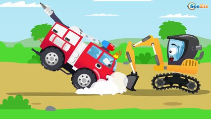 Learn Colors Tractor & Construction Trucks Cartoon Compilation Kids Video Diggers for children
