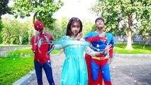 Frozen Elsa Go to School Batman bully Spiderman Superman rescue Police arrest Joker Superhero fun
