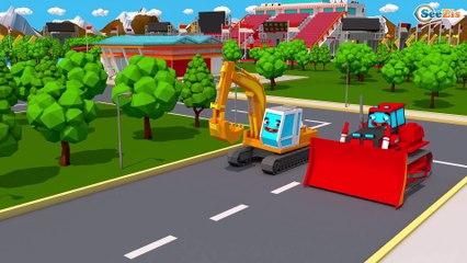 TRATOR CONTRA TODAS - Trator e o Escavadora na Cidade do Carro   Desenhos animados crianças
