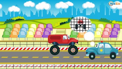 Giant Monster Truck & Racing Car adventures - Police Chase Cartoon For Kids