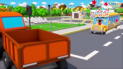Bad Baby Giant Police Car attacks Learn Colors With Emergency Little Cars & Trucks Cartoons