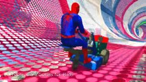 FUNNY TRACTOR in Stunts Adventure with Spiderman Cars Cartoon for Kids and Nursery Rhymes Songs