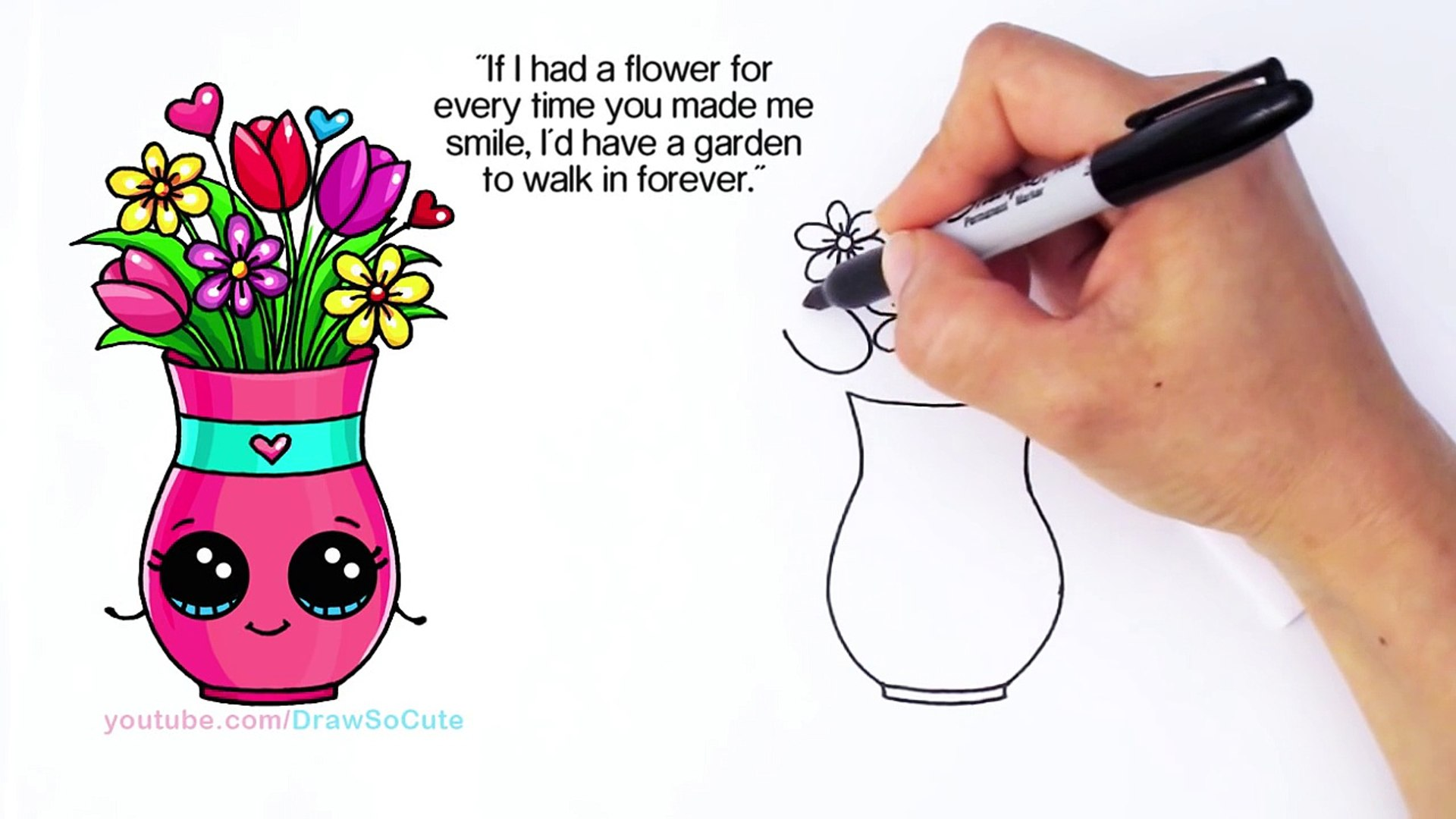 How To Draw A Vase With Flowers And Cute Card Step By Step Sweet Gift Ž±ç‰‡ Dailymotion