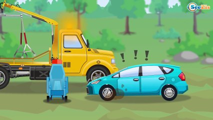 The Green Monster Truck and Cop Car - The Big Race in the City of Cars Cartoons for Children