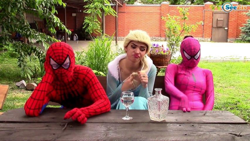 Frozen Elsa & Spiderman Pricess Anna w/ Joker Hulk Spidergirl Poison Ivy!  Superheroes in Real Life