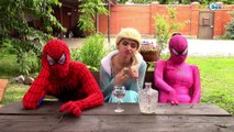 Frozen Elsa & Spiderman Pricess Anna w/ Joker Hulk Spidergirl Poison Ivy!  Superheroes in Real Life