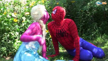 Spiderman vs Frozen Elsa & Hulk Kissing Superheroes in Real Life Episode 143