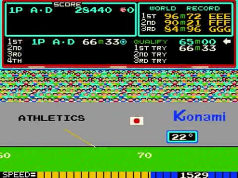 Konamis Track & Field arcade gameplay