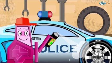 La Super rapide Voiture de POLICE et les de la volées de Course   Dessins animés