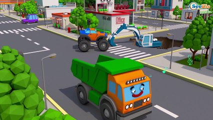 The Excavator and Giant Truck w Monster Truck in the city   3D Kids Animation Cars & Trucks Stories