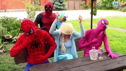 Spiderman & Frozen Elsa & Pink Spidergirl Gets Rainbow Hair! Funny Superheroes Real