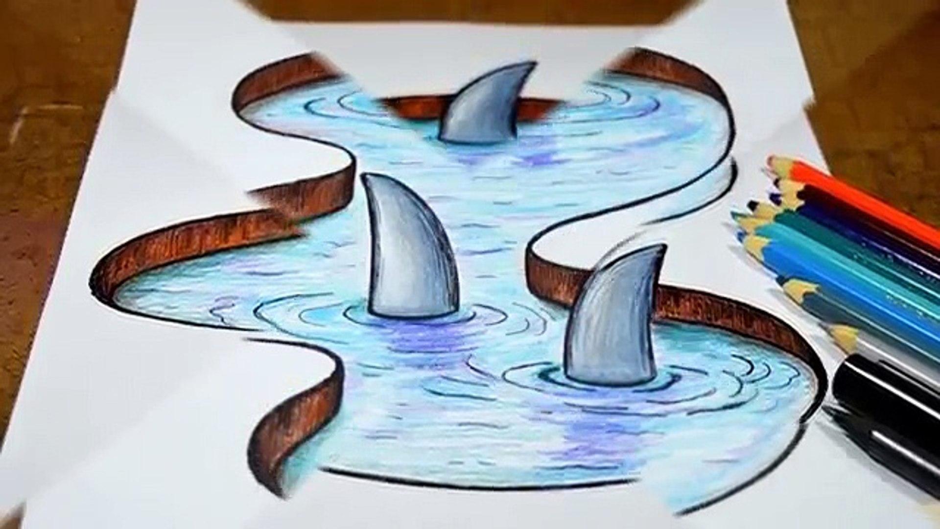 Como Desenhar Lago Com Tubaroes Efeito 3d Video Dailymotion