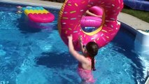 GIANT DONUT vs Real Donut by the pool! Family Fun Movi