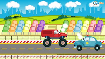 The Blue Police Car Chase in the City | Construction Trucks & Service Vehicles Cartoons for children