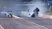 Enorme collision d'un Dragster en pleine course de vitesse !