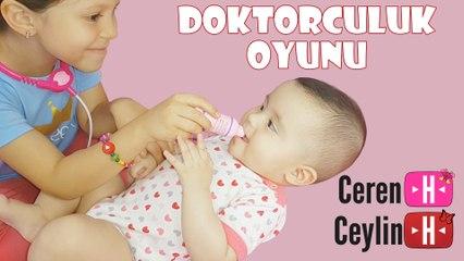 Ceylin-H ve kardeşi Ceren-H | Doktorculuk Oyunu - Eğlenceli Bebek Videosu