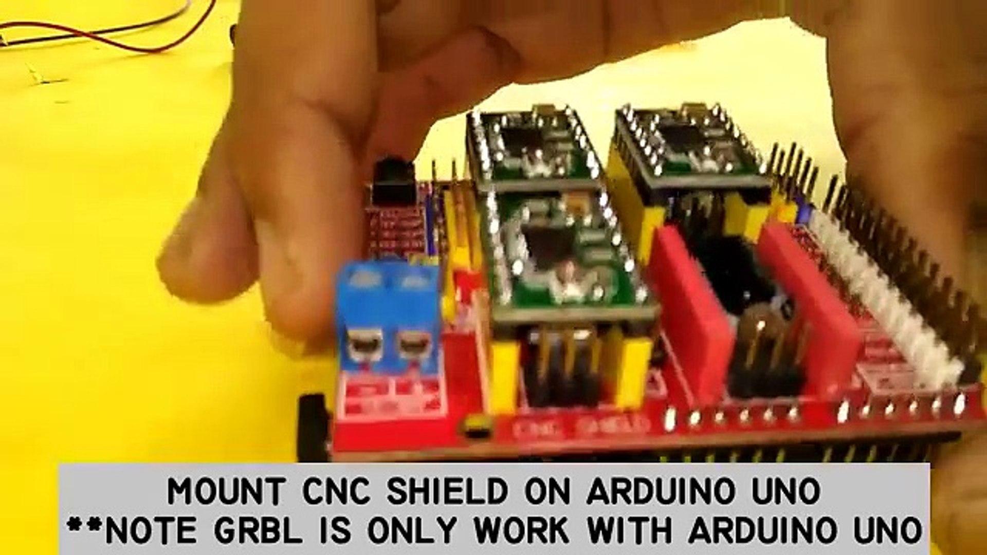 Basic setup ArduinoUNO + CNC SHIELD + GRBL + 3 X DVD Drive steppers