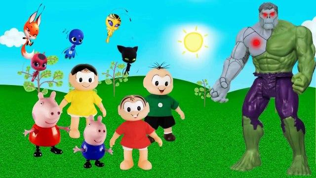 Turma da Monica e Peppa Pig todos miraculous ladybug vs Cascão Hawk Moht