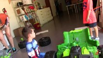 Ride On Toy Power Wheels Car for Kids Dune Racer Extreme Unbox & Nerf War w Batman & Captain America