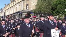 Street Parade of the massed Scottish pipe bands to the 2016 Pitlochry Highland Games in Perthshire