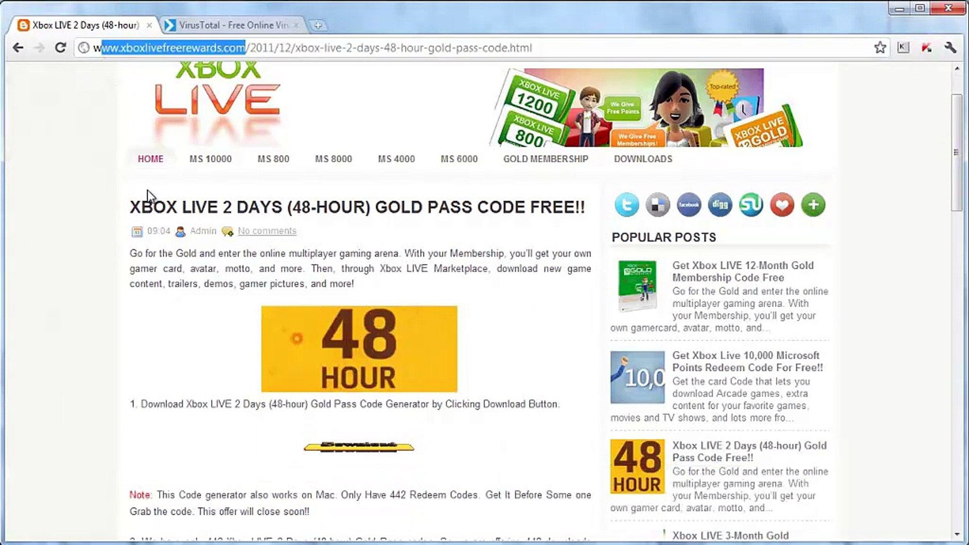 Xbox LIVE 48 hour 2Days Gold Membership Free Redeem Codes Downlaod 2017