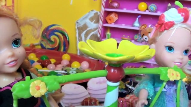 Anna and Elsa Toddlers Candy Land Adventure! Shopkins Barbie Gingerbread House Dolls Toys In Action